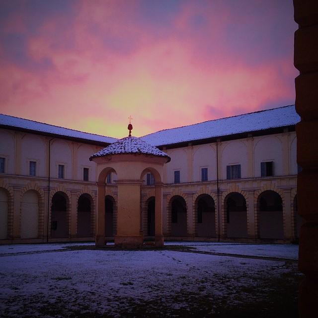 Tramonto con neve a Parma