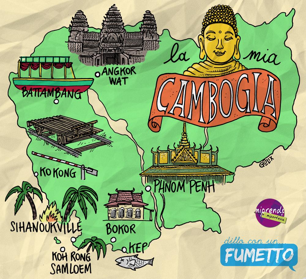 itinerario di viaggio in Cambogia a fumetti